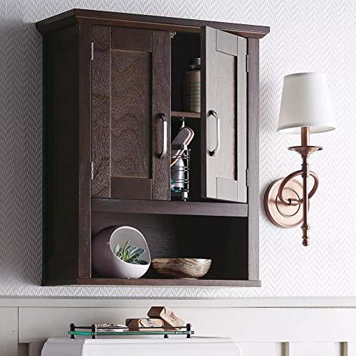 BAKAJI Mobiletto Bagno Armadietto a Muro 3 Ripiani in Legno MDF Doppia Anta con Apertura Centrale Dimensione 53 x 21,5 x 63,5 cm (Noce)