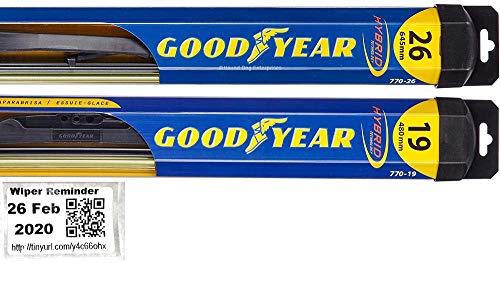 Hybrid - Windshield Wiper Blade Set/Kit/Bundle for 2008-2018 Honda Accord - Driver & Passenger Blades & Reminder Sticker