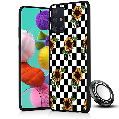 Galaxy A51 Case, Checkerboard Sunflower Slim Anti Scratch Shockproof Silicone Soft Rubber TPU Protective Case Cover with Phone Ring Holder Stand for Samsung Galaxy A51 (4G ONLY)