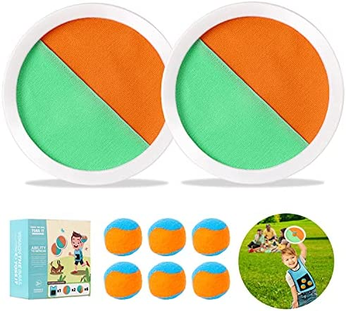 BNT Paddle Toss and Catch Ball Set, Outdoor Sports Games with 2 Paddles 6 Velcro Balls and 1 Dodgeball Game Vest, Beach Games, Yard Games, Perfect Kids Toys Gift for Kids/Adults/Family