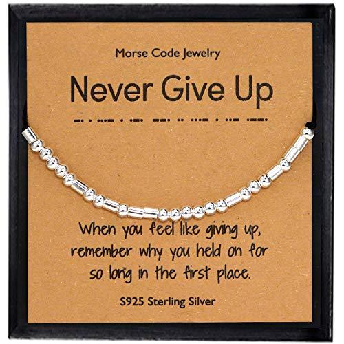 YooAi Inspirational Morse Code Armband Geschenke für Frauen Ihr Sterling Silber Perlen Armband auf Seidenschnur Schmuck für Frauen Mädchen geben nie auf
