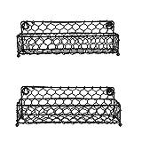 NIRMAN - Portaspezie da parete in filo di ferro nero, 31,75 cm, ideale per conservare spezie, articoli per la casa e molto altro (nero) (set da 2)
