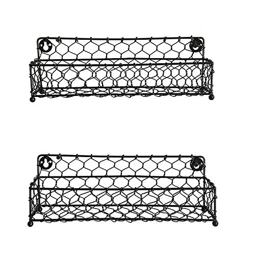 NIRMAN Modern Black Iron Wire Wall-Mounted 12.5-inch Spice Racks Great for Storing Spices, Household Items and More (Black) (Set of 2)