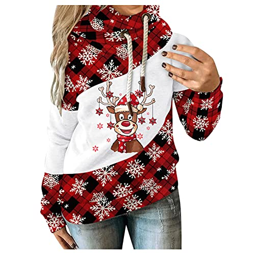 Fxkareiten Sudadera con capucha para mujer, para Navidad, chaqueta de entretiempo, ligera, parka para...
