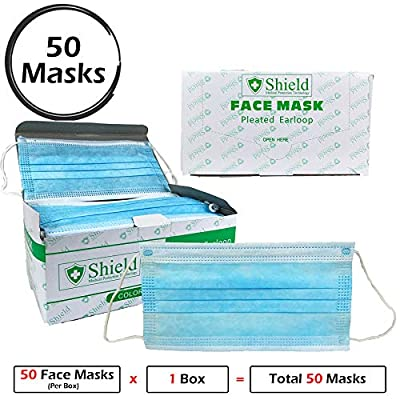 Professional Disposable Face Mask (3-Ply) with Earloop for Virus, Bacteria, Germ, Dust, Pollen, Particle Protection (50)