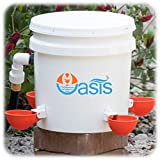Oasis Chicken Waterer Kit (Bucket NOT Included)   Complete with Oasis Watering Cups, Bucket Float Valve and Drill Bits   4 Cup Kit (Orange)