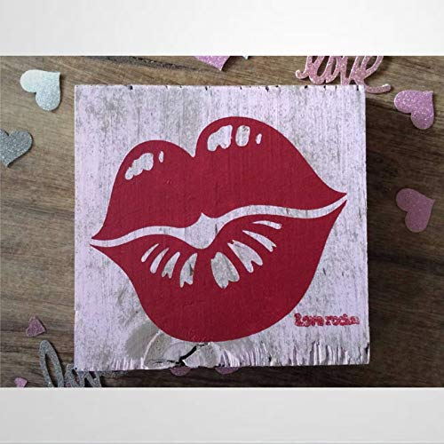 Valentine Wood Decor; Farmhouse Valentine's Day Home Decor; Shabby Pink Valentines Day; Valentines Lips Block Sign; Valentine Gift Wooden Sign Wood Plaque Wall Art Wall hanger Home Decor ds043