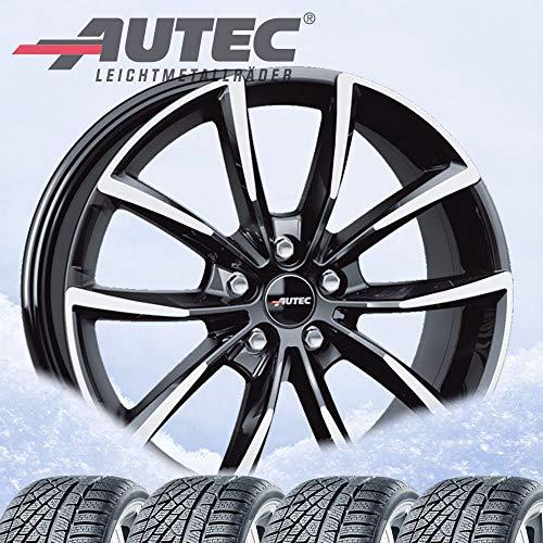 4 ruedas de invierno Autec Astana (ECE) 7x17 ET40 5x112 negro pulido con 215/65R17 99H Michelin Alpin 5 para Seat Tarraco /2020/