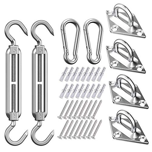 All-Purpose Kit di Fissaggio per Vela per Parasole Resistente per Triangolo e Quadrato da Giardino, Kit di Accessori Hardware per Fissaggio a Vela per Parasole in Acciaio Inossidabile 304