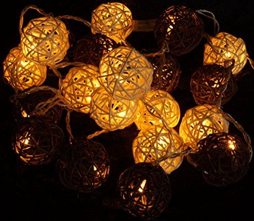 Guru-Shop Rattan Ball LED Kugel Lampion Lichterkette - Braun/weiß, Lichterketten