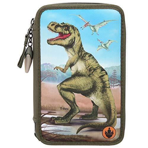 Depesche 10642 - Dino World Federtasche 3-fach, mit LED