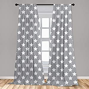 Sonernt Star Big Stars Pattern Monochrome Modern Baby Nursery Starry Night Themed Grey Blue Curtains Window Treatments 2 Panel Set for Living Room Bedroom Decor,1 Panel 42″ x 63″