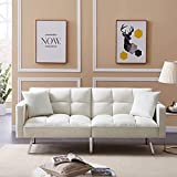 Velvet Futon Sofa Bed with Two Pillows, Convertible Sleeper Sofa Couch with 3 Angle Adjustable Backrest, Modern Loveseat with 6 Metal Legs for Living Room, Bedroom (White)