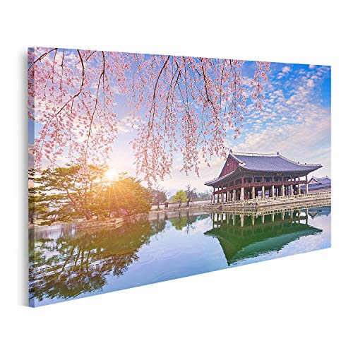 islandburner Bild Bilder auf Leinwand Gyeongbok Gung Palast mit Kirschblütenbaum im Frühling in Seoul Stadt in Korea Südkorea Wandbild Poster Leinwandbild QBUV