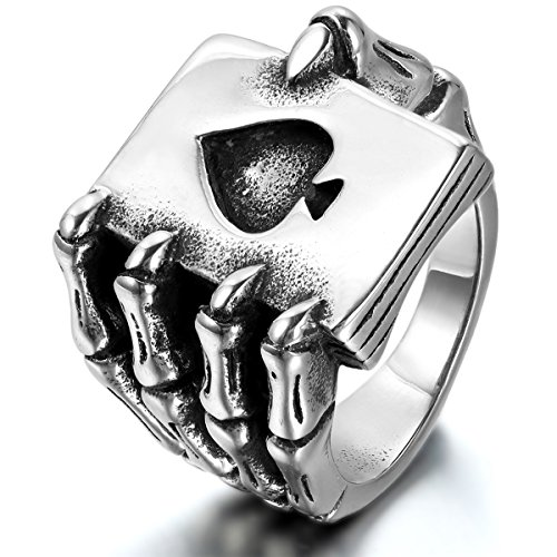 JewelryWe Schmuck Herren-Ring, Edelstahl, Gotik Schädel Klaue Poker Karte, Schwarz Silber - Größe 59