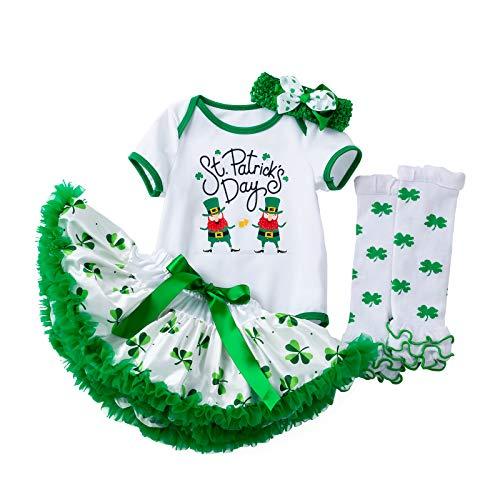 MIDA Neugeborenes Baby 1st St.Patrick's Day Outfits gesetzt Strampler Tutu Röcke Stirnband Beinwärmer Baby Mädchen Kurzarm Vierblättriges Kleeblatt Kleider (Grüne-A, 3-6 Monate)