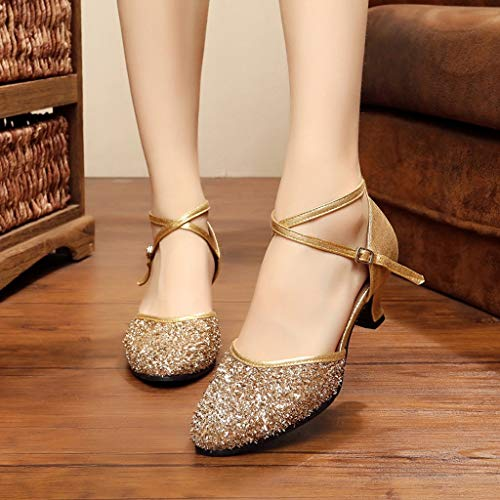 Jazz Schuhe Latin Dance Shoes Internationale Tanzschuhe for Damen (Color : Gold, Size : 36)