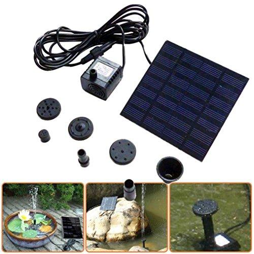 Igemy 1.2 W 7 V Panneau solaire Pompe à eau Fontaine kit piscine étang de jardin submersible noir