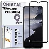REY Protector de Pantalla Curvo para Nokia 2.4, Negro, Cristal Vidrio Templado Premium, 3D / 4D / 5D, Anti Roturas