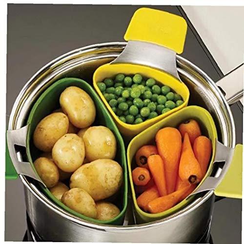 Triple Divider Nest Steaming Silicone Saucepan Divider Steamer Basket Cooking Strainer Kitchen Gadgets 3 Pcs/Set