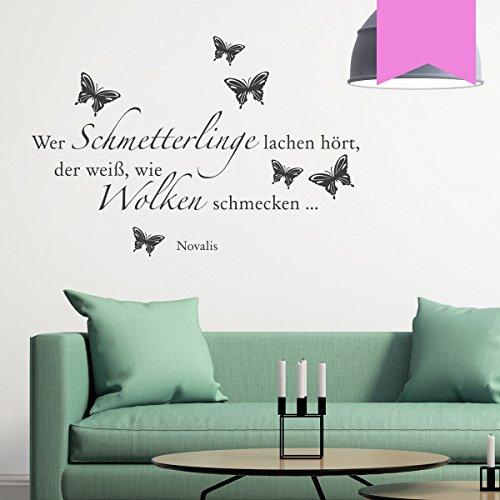 WANDKINGS Wandtattoo Wer Schmetterlinge lachen hört, der weiß, wie Wolken schmecken … (Novalis) 100 x 68 cm Flieder - erhältlich in 33 Farben