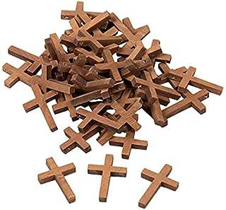 WQFXYZ 50-Pack Wood Cross Pendants - 1.2 x 1.75-Inch Mini Crosses, Cross Charms for Religious Party Favors, Sunday School DIY Craft