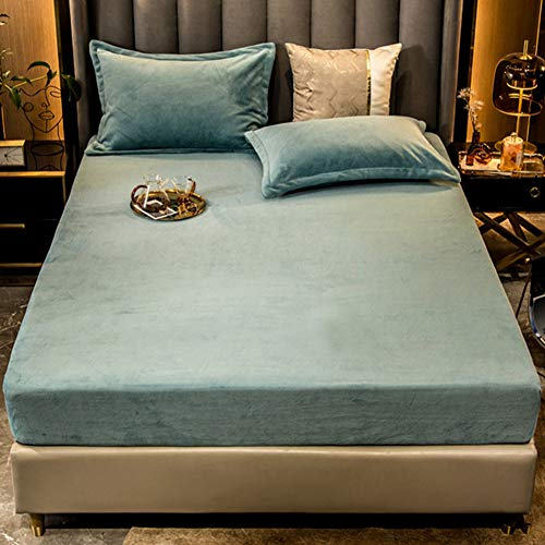 LYXQQ Milk Velvet Sheet, Bed Linen Set, Warm Winter Solid Fitted Sheet, Microfibre Warm Bed Sheet Throw for Bed, Light Blue, 150 x 200 cm