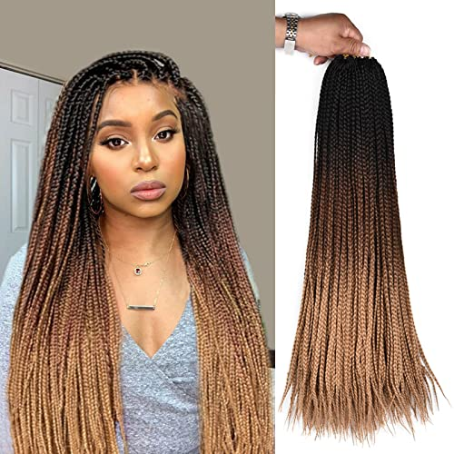 24inch Long Box Braids Crochet Synthetic Braiding Hair Extensions Ombre Brown Hand made Synthetic Crochet Braided Hair For Black White Women Girls 6Packs Sale(3S box braids, Black-DarkBrown-LightBrown)