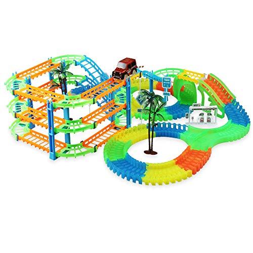 CMXUHUI El Juguete Favorito del bebé, Gran Regalo para los Ferrocarril Racing Track Play Set Educational Bend Flexible Race Track Flash Light Light Juguetes, para niños Niños