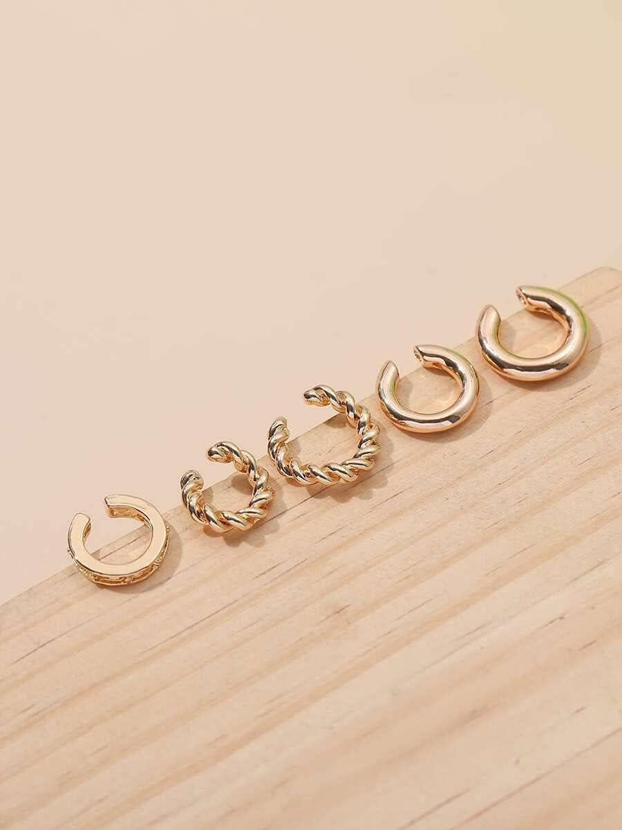 Hoop Earrings 5pcs Metal Twist Ear Cuff (Color : Gold)