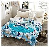 XZDPPTBLN Mantas de Franela Súper Suave de Lana Avión de Dibujos Animados Azul Mantas con Estampados Esponjosa y Cálida Mantas para la Cama y el Sofá 130cm x 150cm