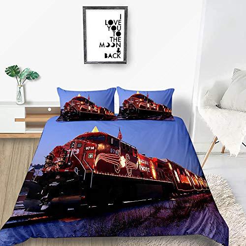 Dubbele dekbedovertrek sets Rode trein Quilt Beddengoed Set met 2 Kussenslopen Luxe Zacht Dekbedovertrek King (90x86,7 inch)