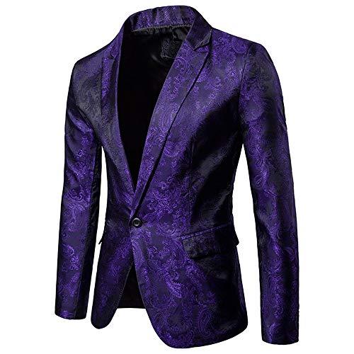 Traje para hombre, diseño de granos oscuros, de moda con un solo botón y traje delgado para hombre Morado Morado ( XXL