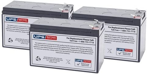 Set of 3, 12V 7.2Ah F2 Sealed Lead Acid Replacement Battery Set for Tripp Lite RBC53 by UPSBatteryCenter