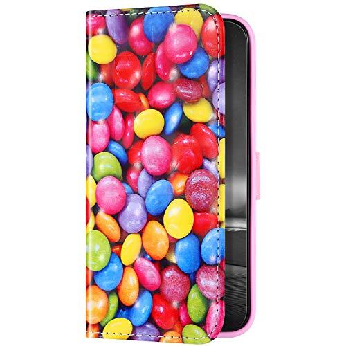 Uposao Beschermhoes, compatibel met Samsung Galaxy A40, portefeuille, flipcover, van leer, bookstyle, portefeuille, case, standfunctie, magneetsluiting, voor dames en heren, snoep, chocolade