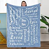 Flannel Blanket Comfort Healing Blue Blanket with Inspirational Messages Gifts for Cancer Friends Couple Family for Birthday Admiration Gratitude Friendship