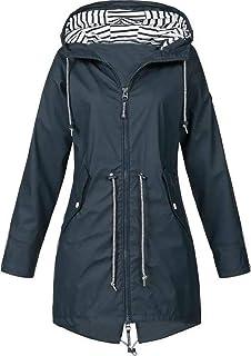Jacket Chubasqueros Mujer Chaqueta con Capucha Chaqueta Impermeable, a Prueba de Viento Transpirable Ligeros Outdoor Corta...