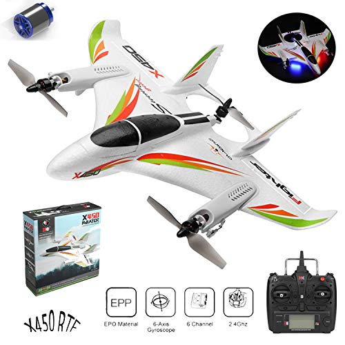 DragonPad RC Stunt Plane for WLtoys XK X450 2.4G 6CH 3D/6G RC Airplane Brushless Motor Vertical Take-Off LED Light Remote Control Glider Fixed Wing RC Airplane Aircraft RTF US Plug
