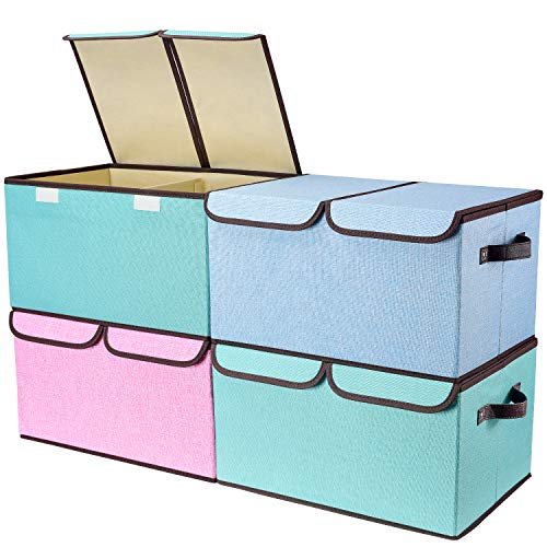 "Product Image of the Larger Storage Cubes [4-Pack] Senbowe Linen Fabric Foldable Collapsible Storage Cube Bin Organizer Basket with Lid, Handles, Removable Divider For Home, Office, Nursery, Closet - (16.5 x 11.8 x 9.8"")"