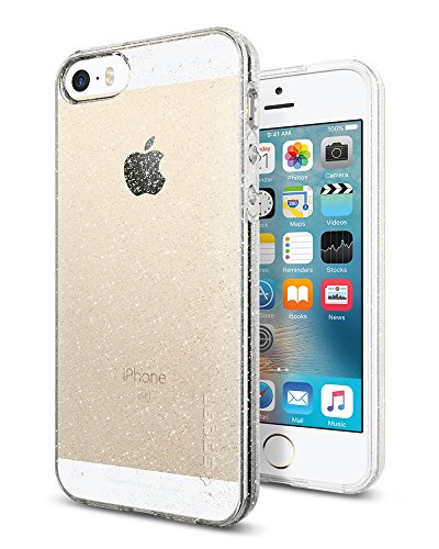Spigen iPhone SE Hülle, iPhone 5S/5/SE Hülle [Liquid Air Glitter] Glitzer Design Soft Flex Silikon Bumper Style Handyhülle, Schutzhülle für iPhone 5S/5, iPhone SE Case Cover - Crystal Quartz