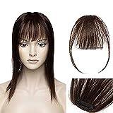 Fausse Frange Chatain Frange a Clip Cheveux Naturel Chatain Clip Frange [Frange:5'(12cm)+ Tempe:8'(20cm)] - 02#Chatain Foncé Sans Shedding/Tangle/Noeud