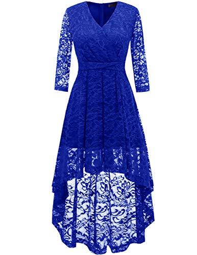 DRESSTELLS Abendkleider elegant Cocktailkleid Unregelmässig Spitzenkleid Vokuhila Floral Kleid Royal Blue M