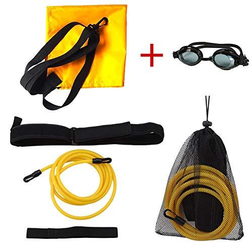 enomaa Schwimmtrainings-Widerstandsband mit verstellbarem elastischem Latex-Bungee-Kabel am Neoprengürtel, geeignet zum Schwimmen im Pool für Erwachsene Kinder