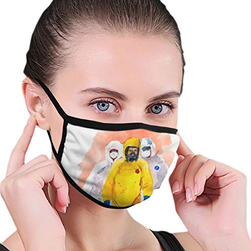 Face Protection Design (Photo Three People Protective Coveralls Pandemic Coronavirus Covid Pattern) Reusable Washable Ear Loop Neck Gaiter Scarf Bandana Men Women Kids