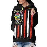 American Flag VMFT - 401 Women's Lining Fur Fleece Pullover Hoodie Pocket Sweatshirts Tops Black