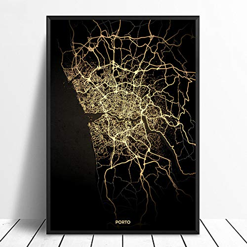 ZJMI Canvas Print, Porto City Light Maps Custom Wereld Stadsplan Posters Kunstdrukken op canvas in Scandinavische stijl Wall Art Home Decor Mode 60×90cm No frame