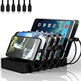 Charging Station for Multiple Devices, MSTJRY 6 Port USB Charging Station with 6 Short Cables Compatible with...