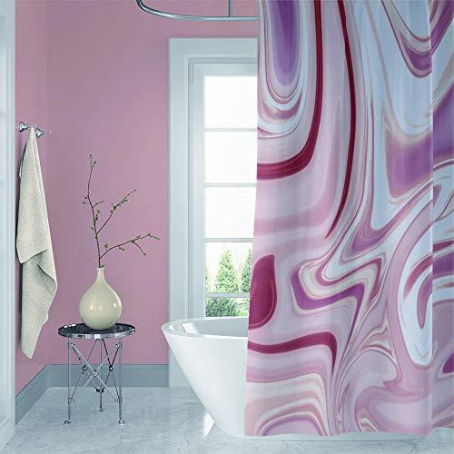 YongFoto Nature Marble strukturierter Duschvorhang für Badezimmer Dekor abstraktes hellrosa rot flüssiges Muster Duschvorhang Badewannendekor 174 x 178 cm Set mit Haken