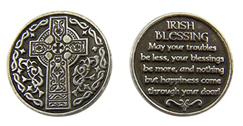 Religious Gifts Silver and Black Tone Celtic Cross with Irish Blessing Devotional Prayer Token, 1 1/8 Inch