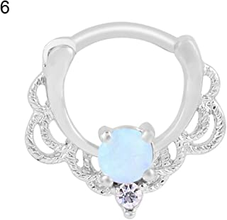 New Beautiful Nipple Ring Stainless Steel Women Single Opal Septum Clicker Nose Ring Piercing Jewelry - Silver 6